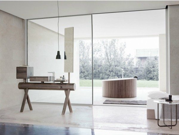 Bagno, lavandino, vasca e soffione di design
