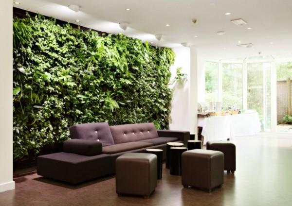 salotto parete verde