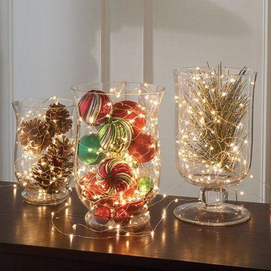 Vasi di natale luminosi fai da te per decorare casa