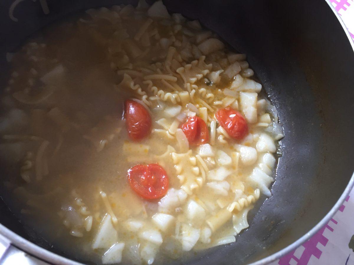Pasta con topinambur-cottura