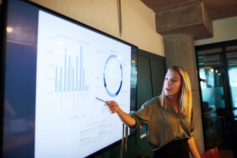 One young businesswoman making a presentation speech.