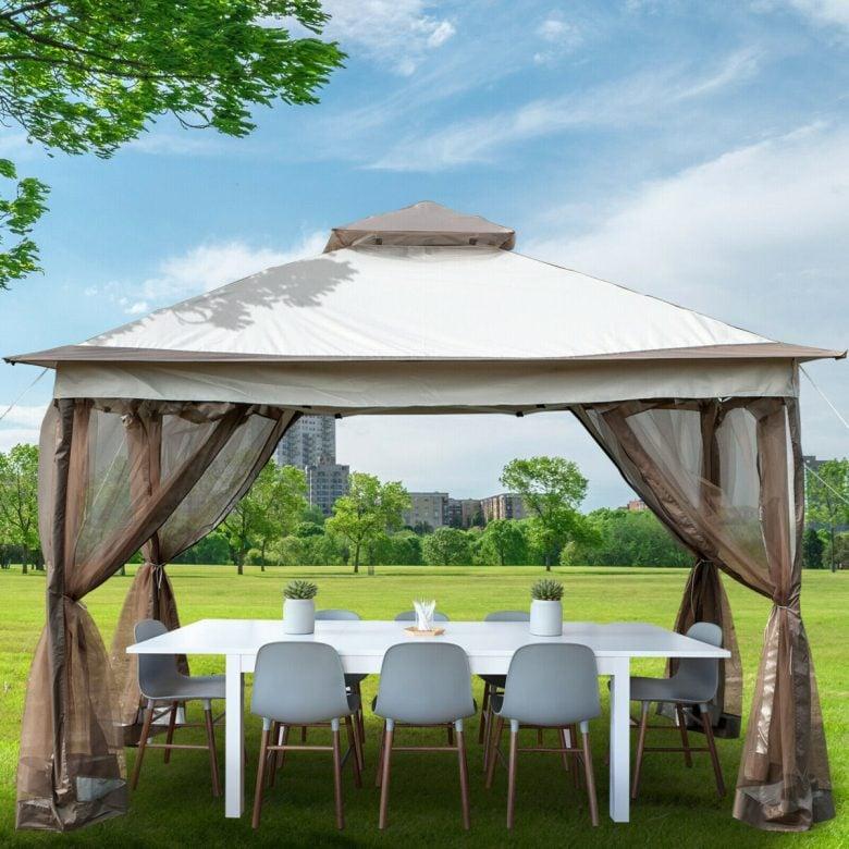 Gazebo-Canopy-12-x12-Camping-Tent-Mesh-Mosquito-Net-Patio-Steel-Fabric-Outdoor